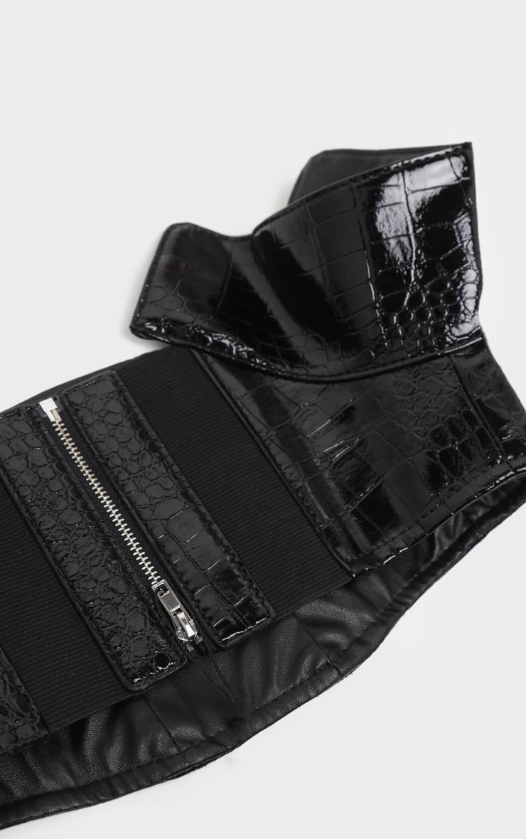 Black Vinyl Snake Corset Belt  3