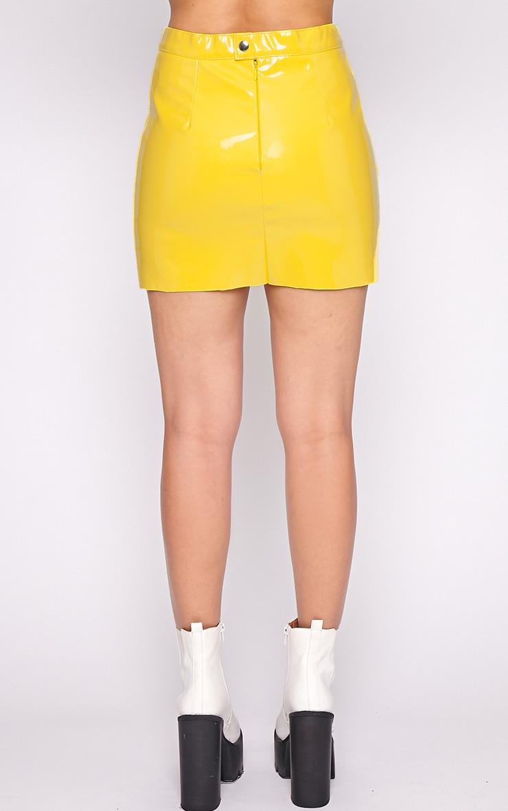 Daphne Yellow PVC Mini Skirt 4