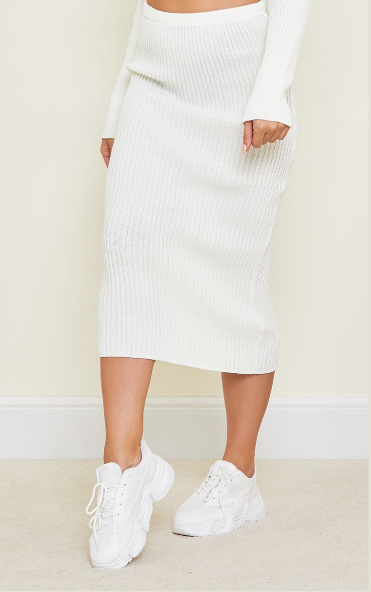 Tall White Knitted Midi Skirt 2