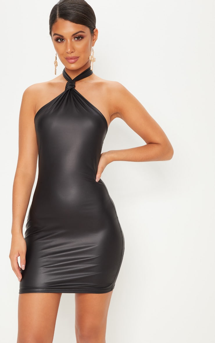 Black Halterneck Knot Detail Bodycon Dress