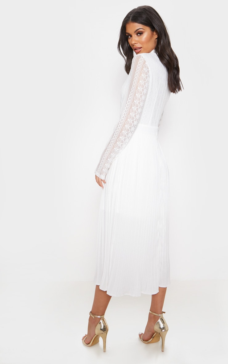 White Lace Top Pleated Midi Dress 2
