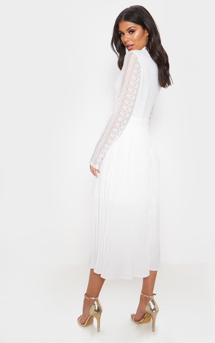 White Lace Top Pleated Midi Dress image 2