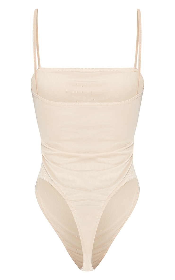 Shape Nude Mesh Ruched Thong Bodysuit 4