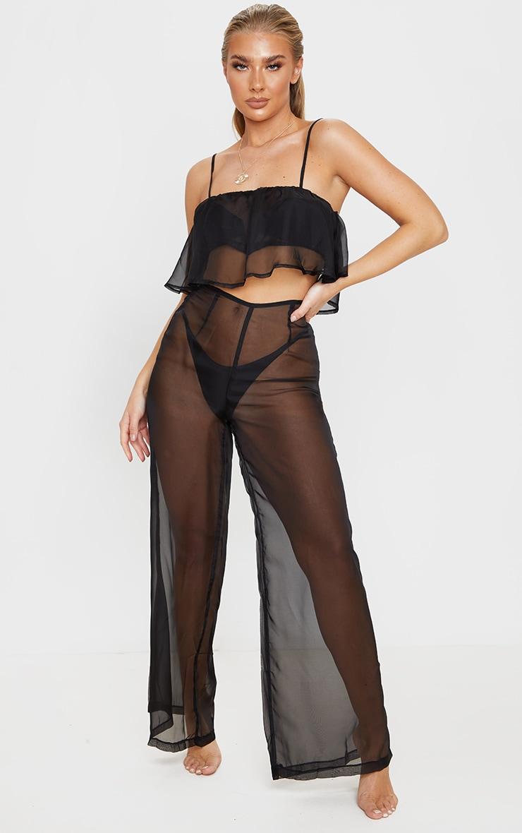 Black Wide Leg Beach Trouser 1