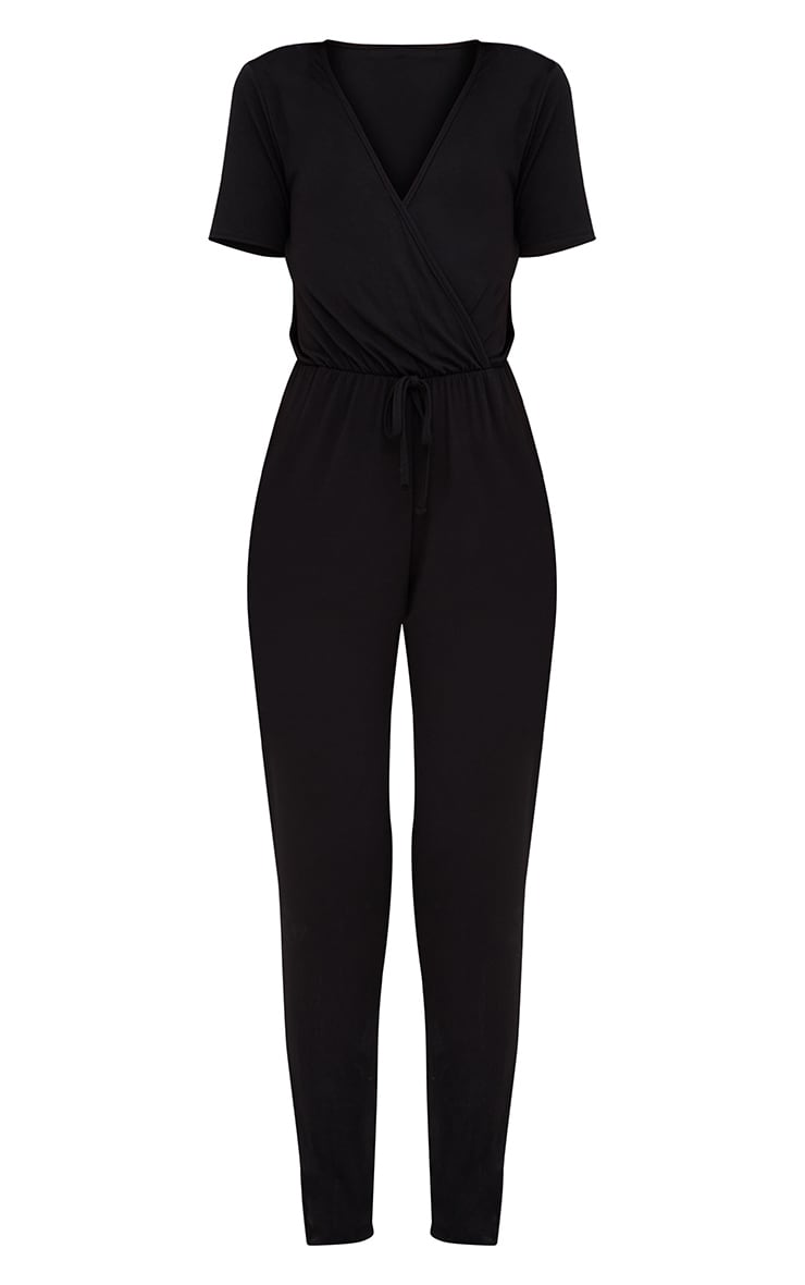 Black Jersey Wrap Jumpsuit  3