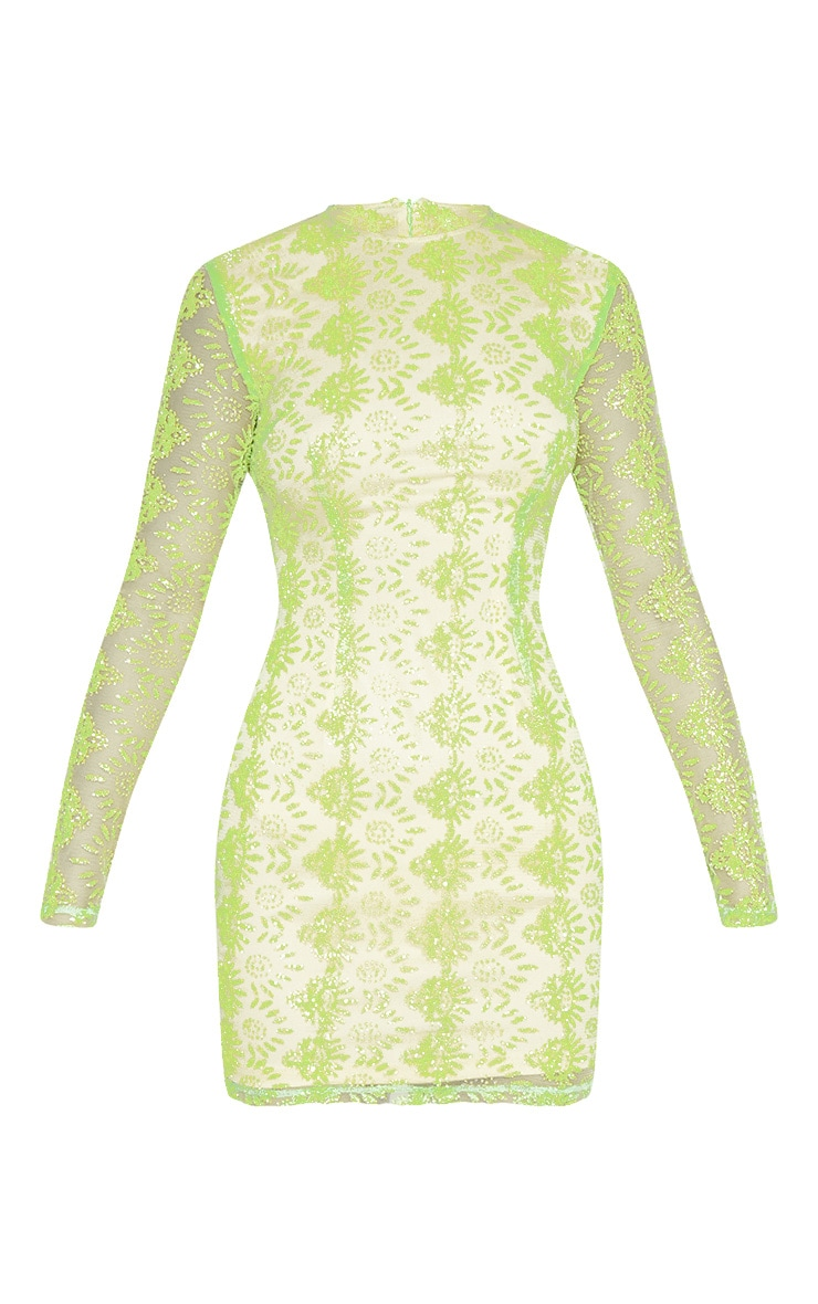 Neon Green Sequin Mesh Long Sleeve Bodycon Dress 3
