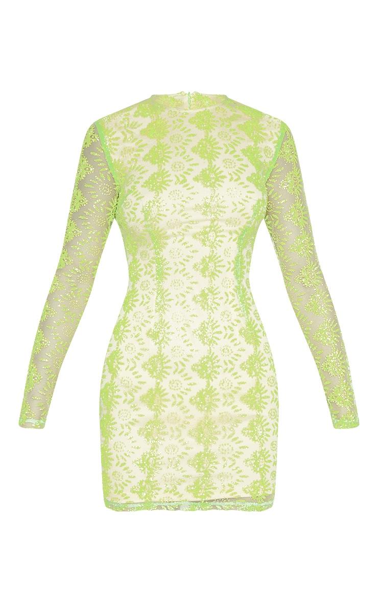 Neon Green Sequin Mesh Long Sleeve Bodycon Dress