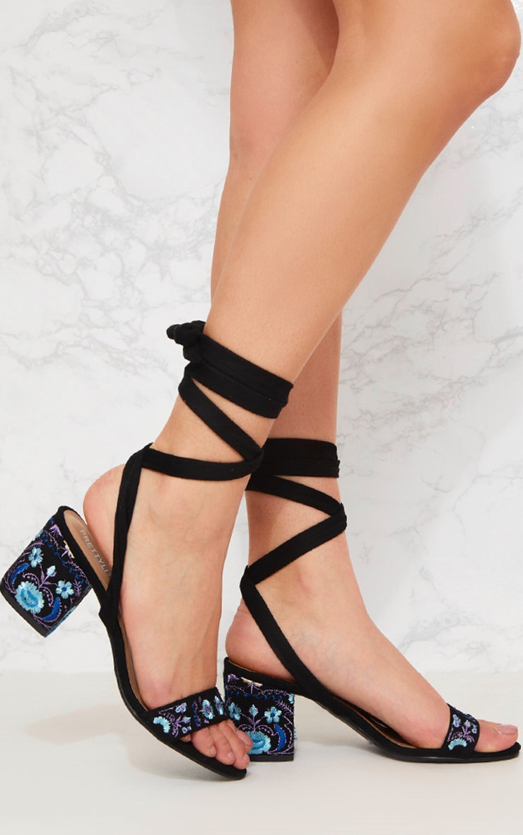 be003109ab7 Black Embroidered Lace Up Block Heeled Sandals