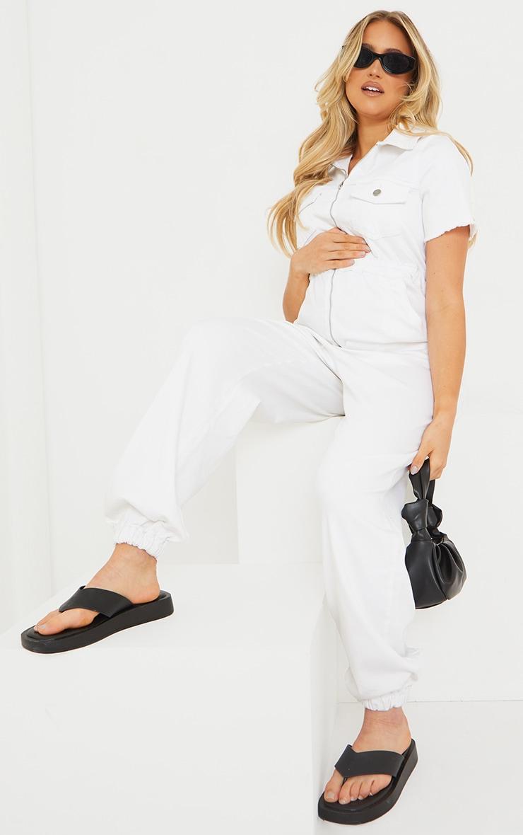 Maternity White Denim Contrast Seam Short Sleeve Jumpsuit  1