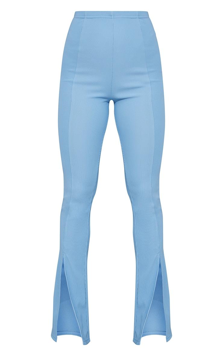Dusty Blue Power Rib Split Hem Trousers 5