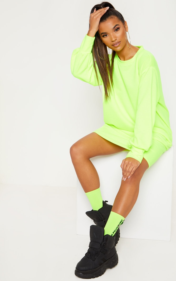 8bcad29a24 Neon Yellow Oversized Jumper Dress image 1