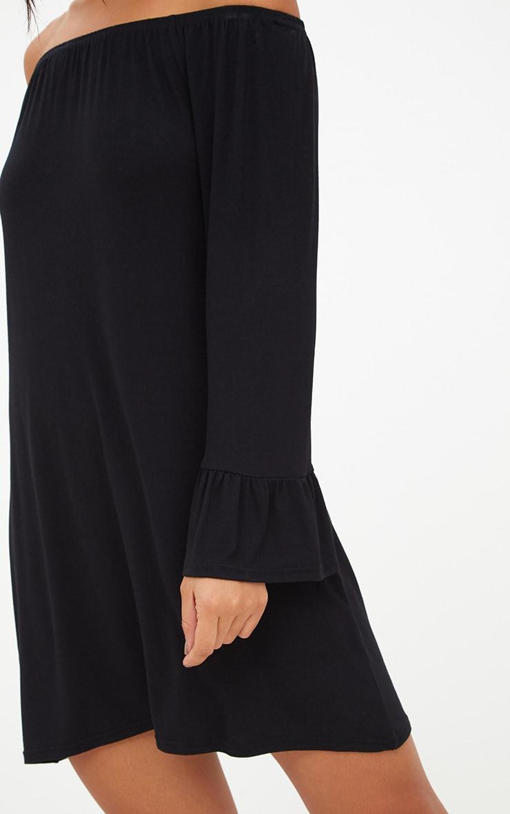 Black Jersey Bardot Long Sleeve Shift Dress 5