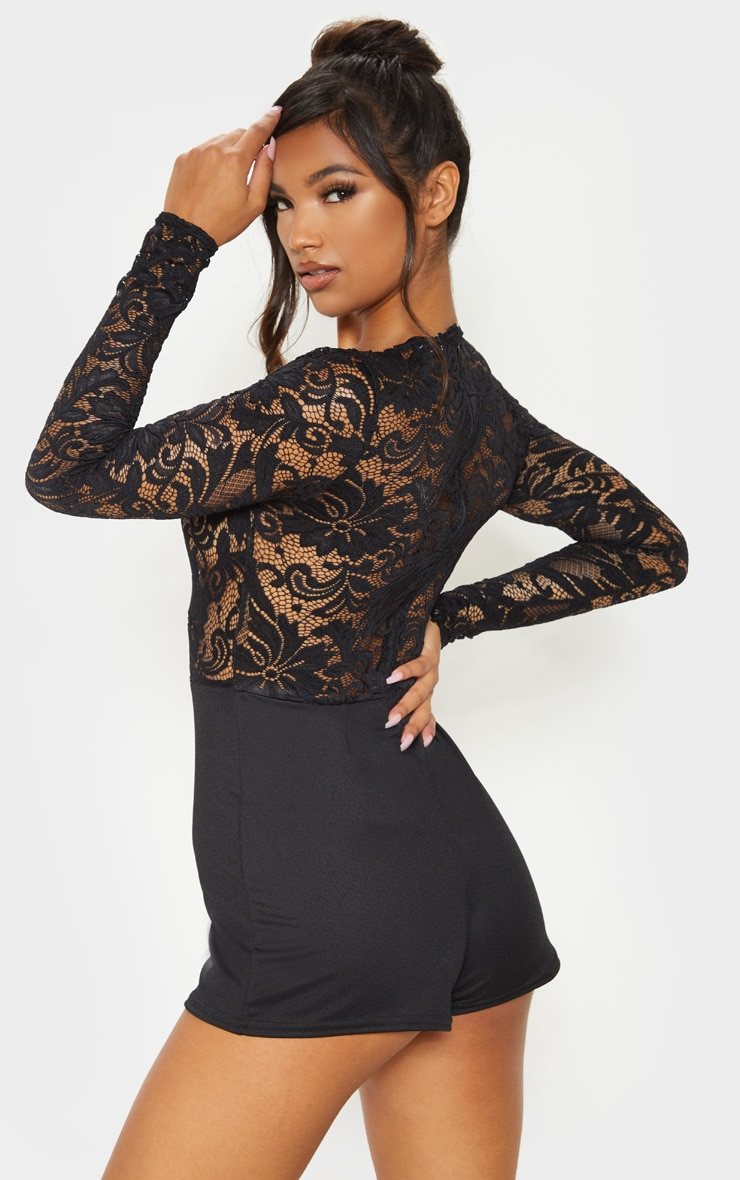 Black Lace Long Sleeve Plunge Romper 2