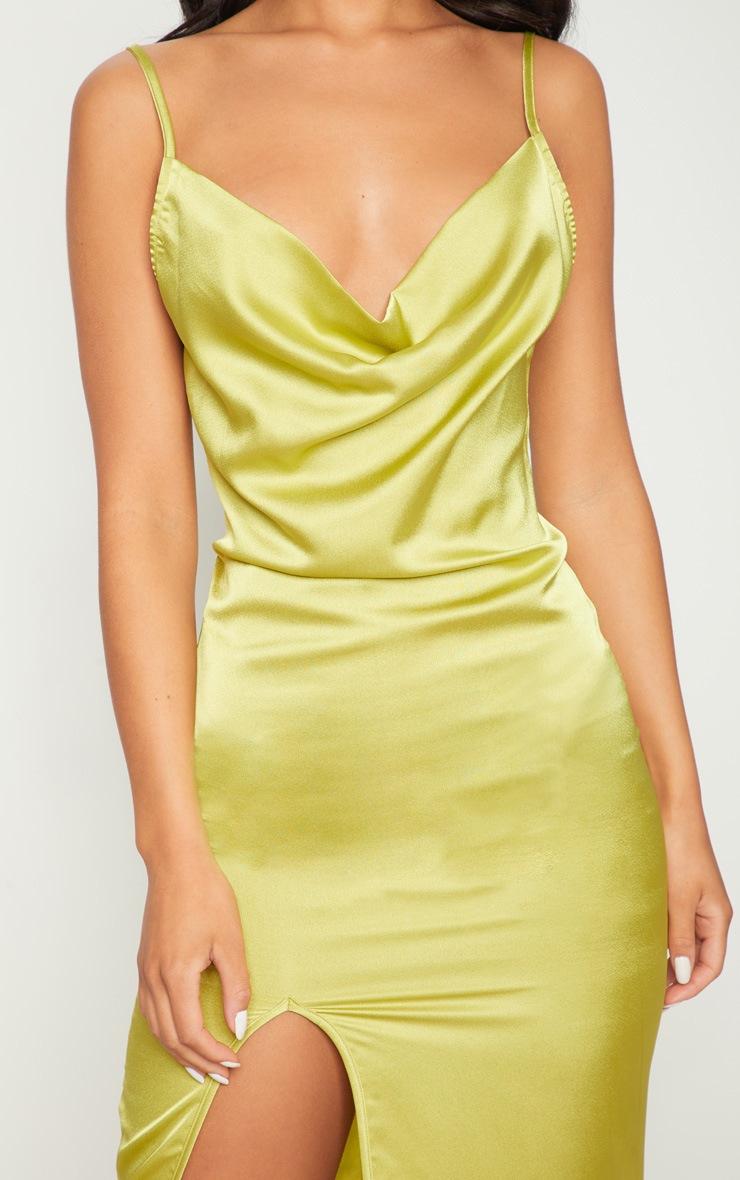 Dark Lime Strappy Satin Cowl Midi Dress 6