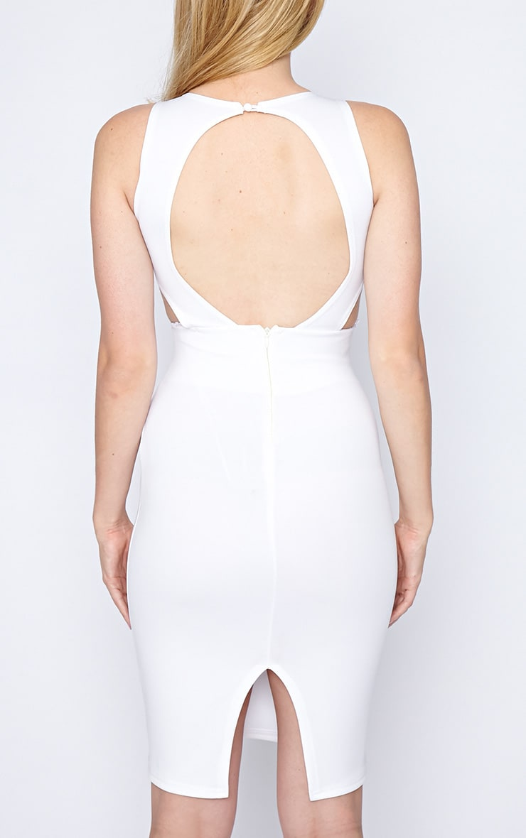 Saffron White Cut Out Midi Dress 2