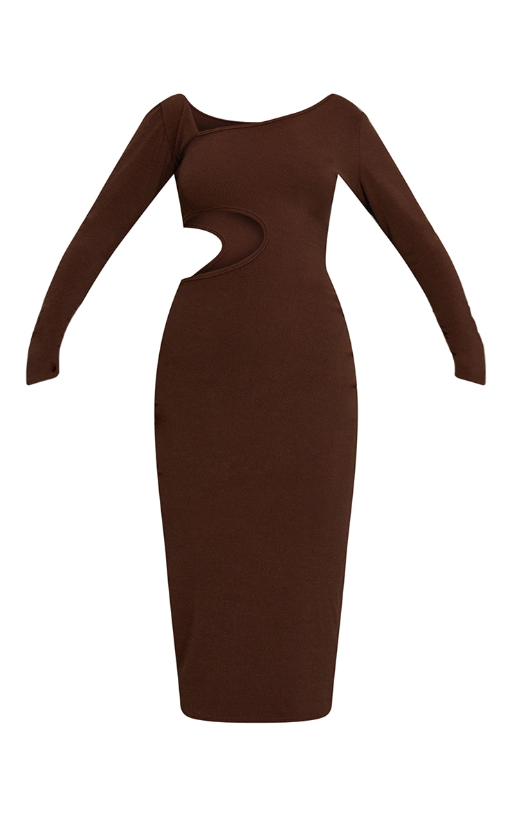 Chocolate Ribbed Long Sleeve Cut Out Midaxi Dress 5