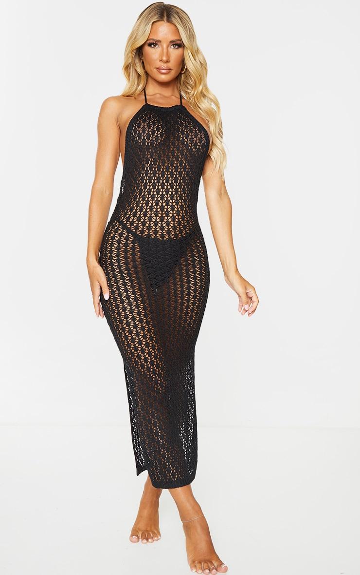 Black Halterneck Crochet Side Split Midi Dress 3
