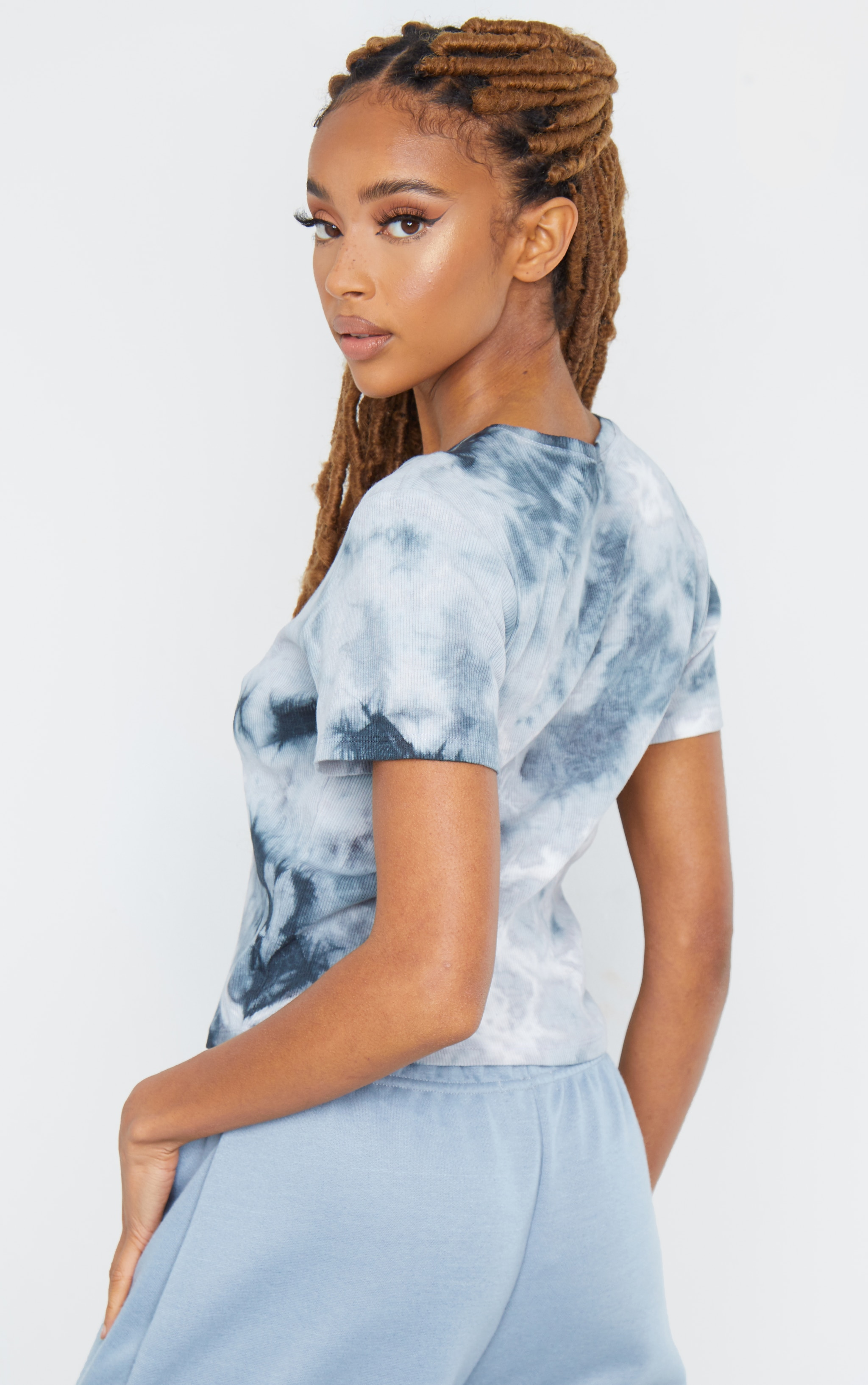 Black Tie Dye Ribbed T Shirt 2