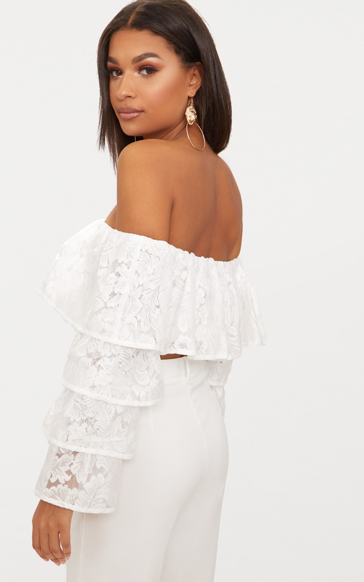 White Tiered Lace Frill Crop Top 3