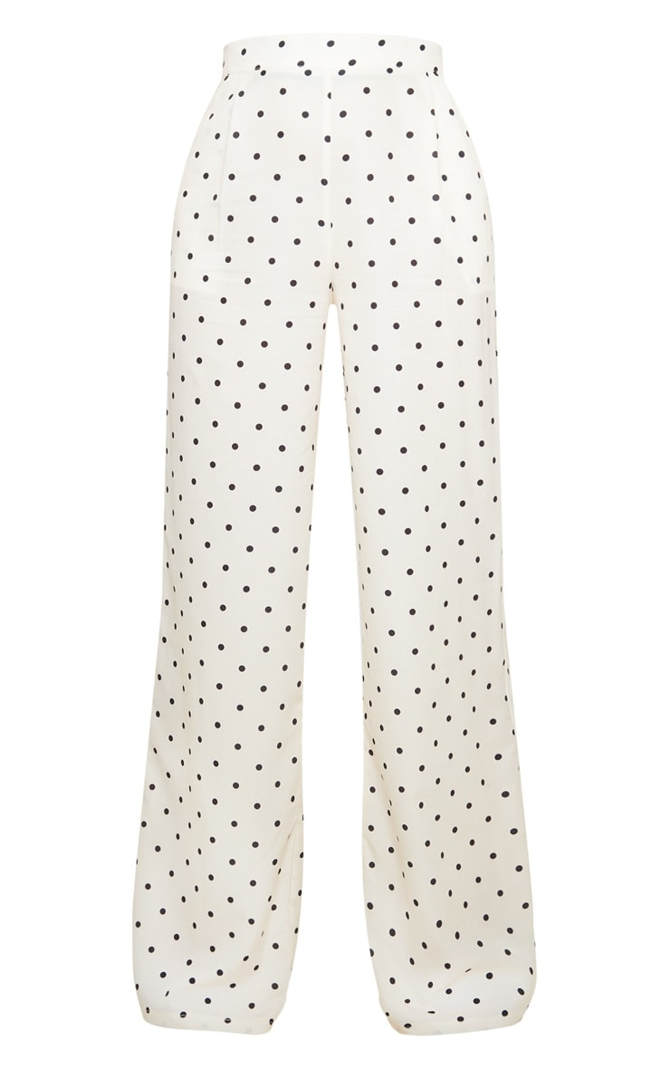 Cream Polka Dot Print Wide Leg Pants 3