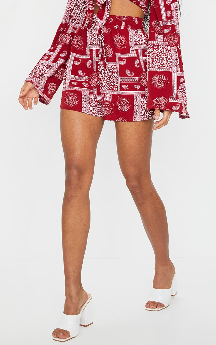 Red Floaty Paisley Print Shorts 2