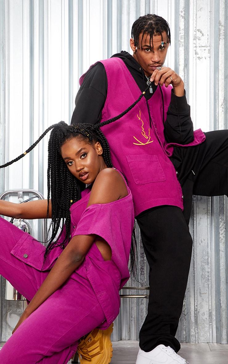 KARL KANI Purple Oversized Sleeveless Denim Jacket 1