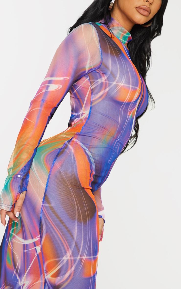 Shape Purple Marble Print Sheer Mesh Thumb Hole Midaxi Dress 4