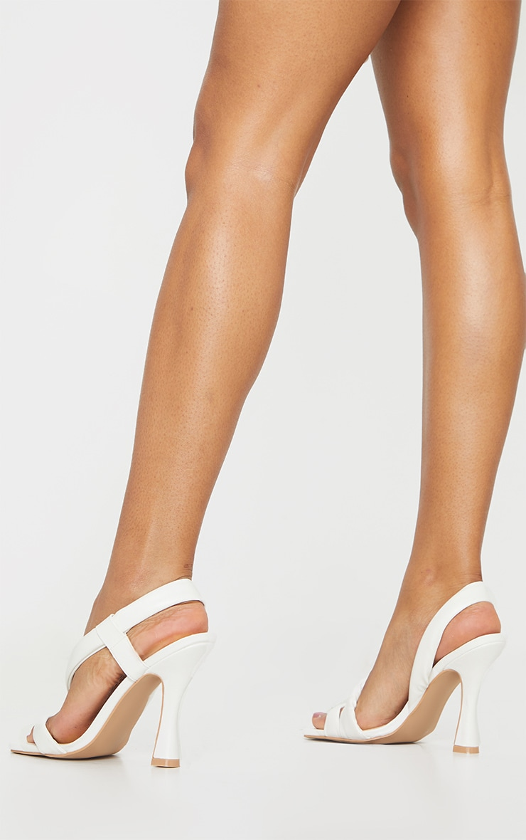 White Square Toe Low Flare Heel Sandals 2