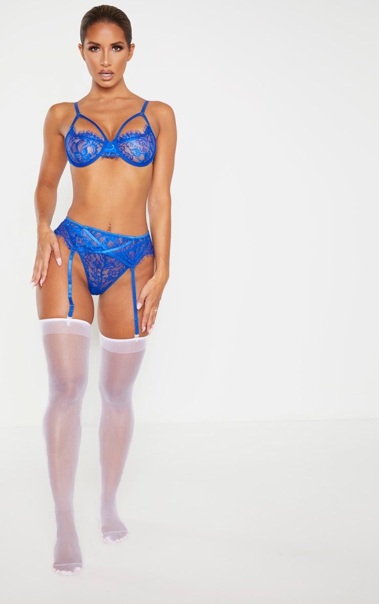 Cobalt Eyelash Lace Suspender 5
