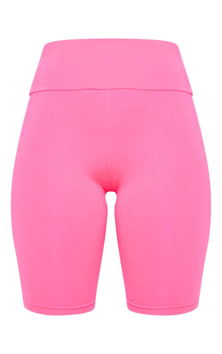 Hot Pink High Waisted Gym Cycle Shorts 3