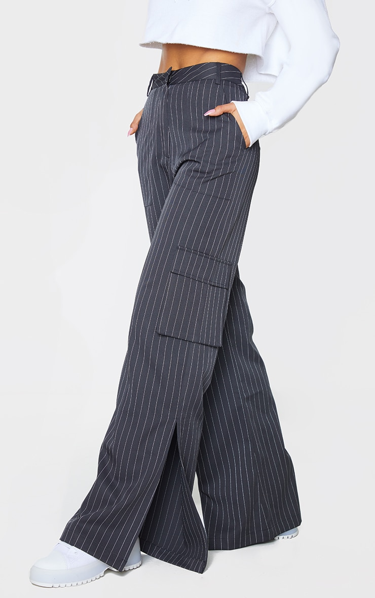 Charcoal Pinstripe Wide Leg Pocket Detail Trousers 2