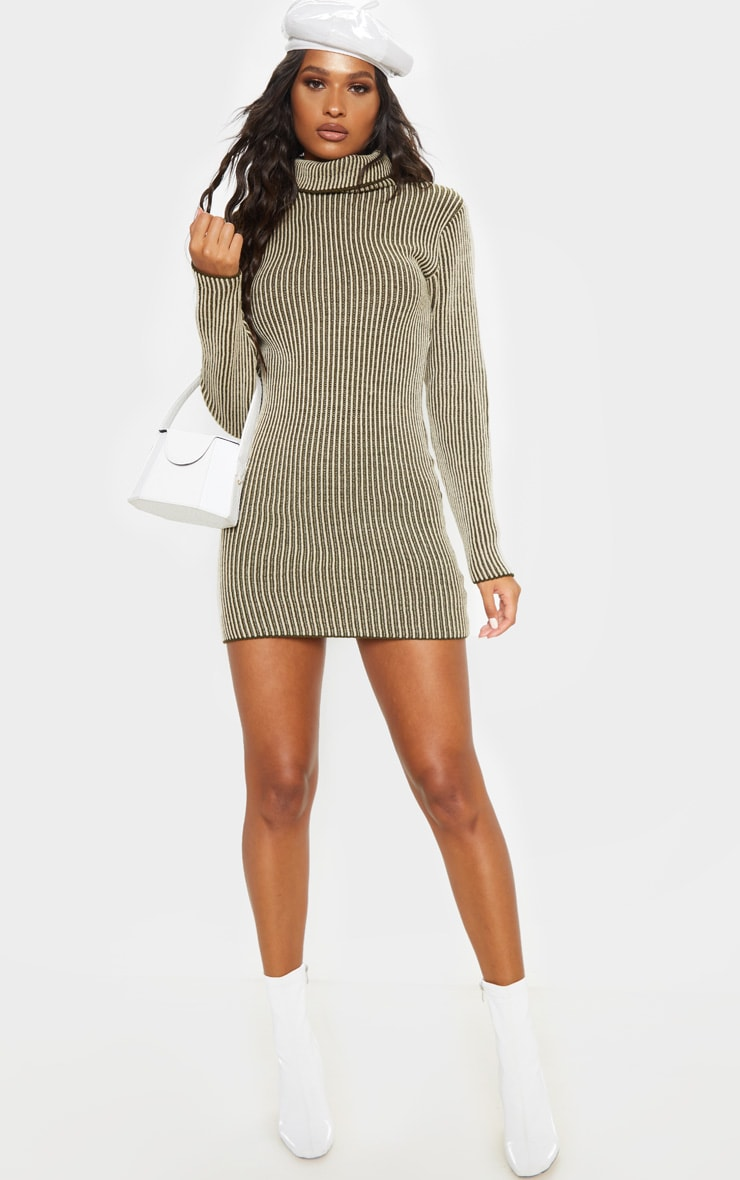 Khaki Two Tone Knitted Dress 1