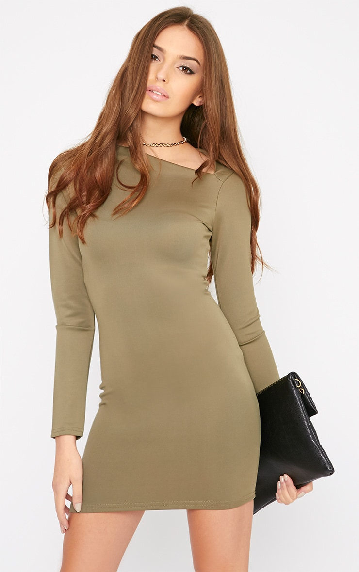 India Khaki Slash Neck Bodycon Dress 1