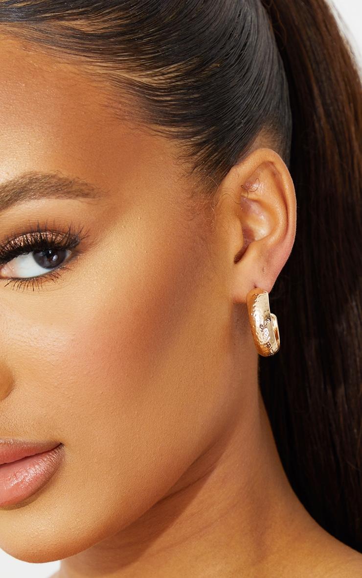 Gold Mini Hammered Hoop Earrings 1