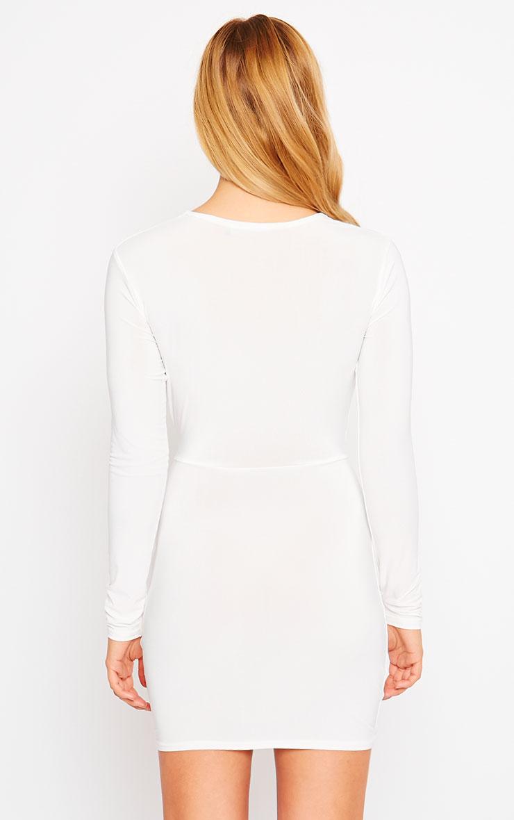 Zafia Cream Long Sleeve Mini Dress 2