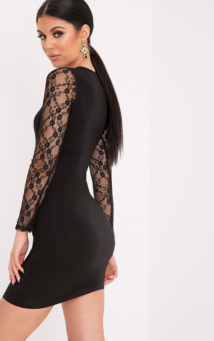 Madison Black Lace Long Sleeve Slinky Bodycon Dress 1