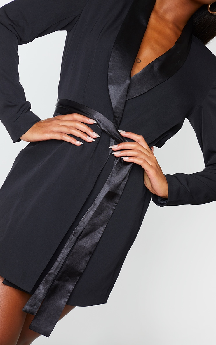 Black Satin Lepel Tie Waist Blazer Dress 4