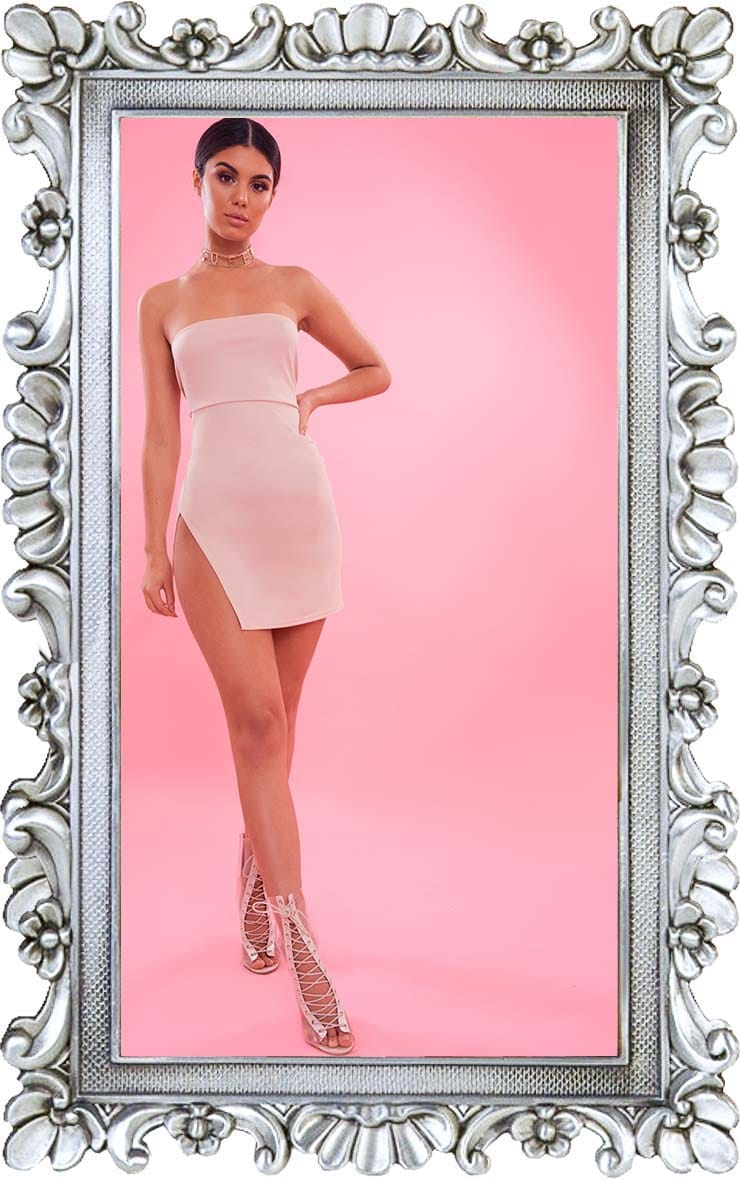 Nude Crepe Split Side Bandeau Bodycon Dress 1