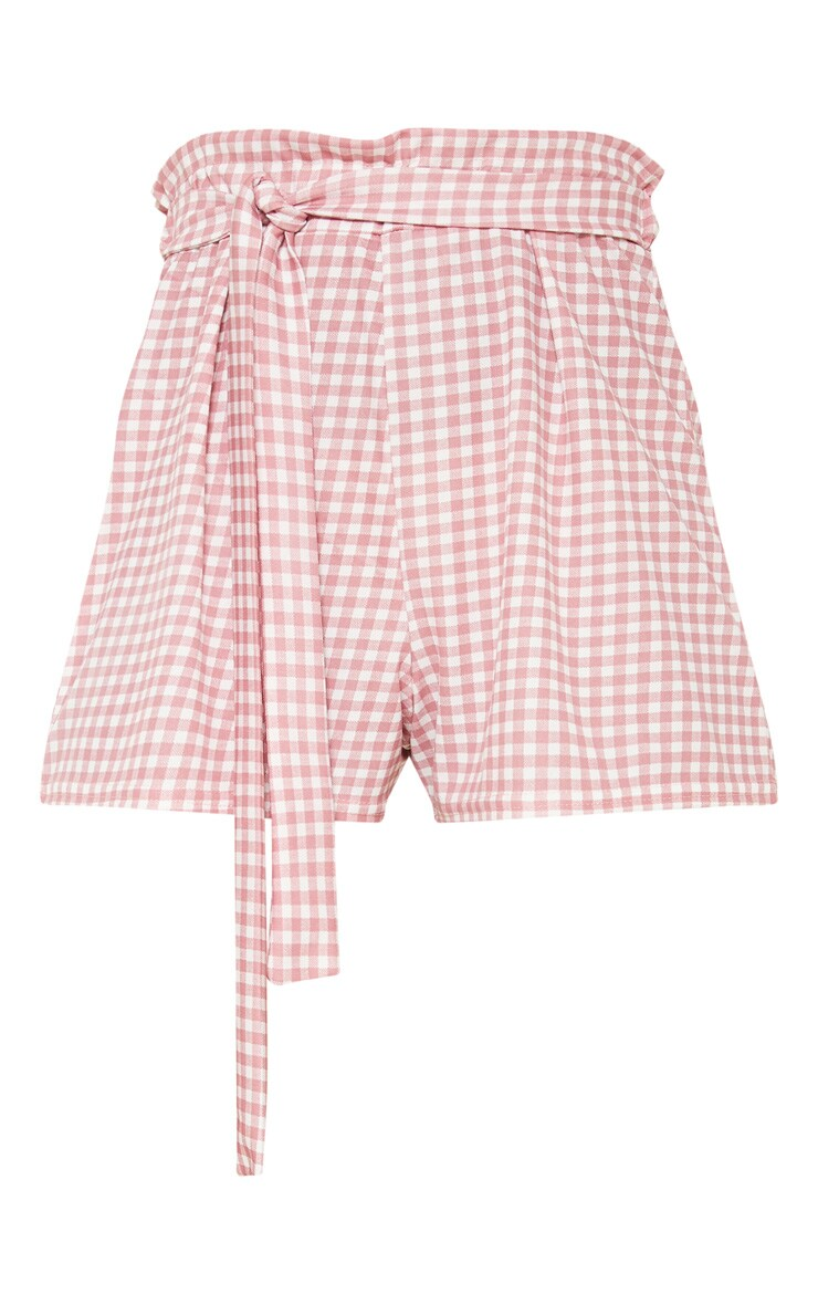 Dusty Pink Gingham Print Ruched Tie Waist Short 3
