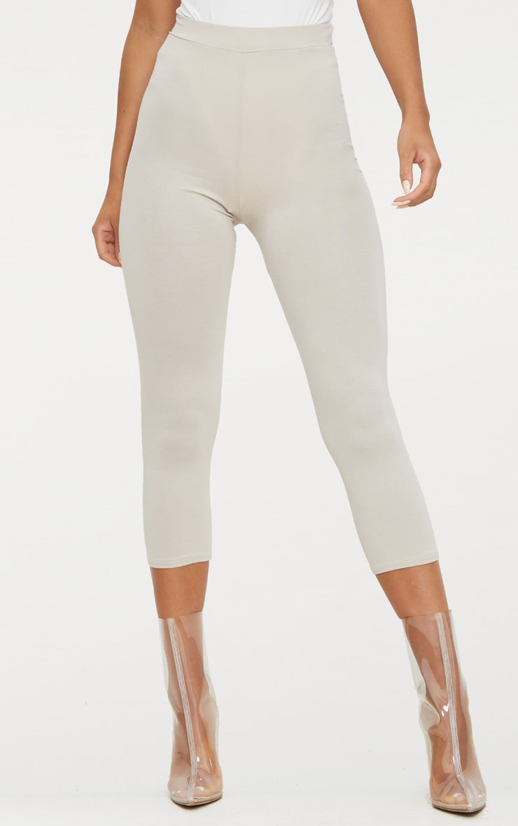 Stone Basic Cropped Jersey Leggings  2