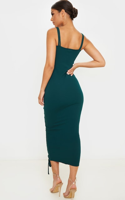 Emerald Green Strappy Ruched Midi Dress