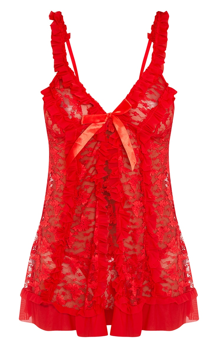 Ira Red All Over Lace Babydoll and Thong Set 3