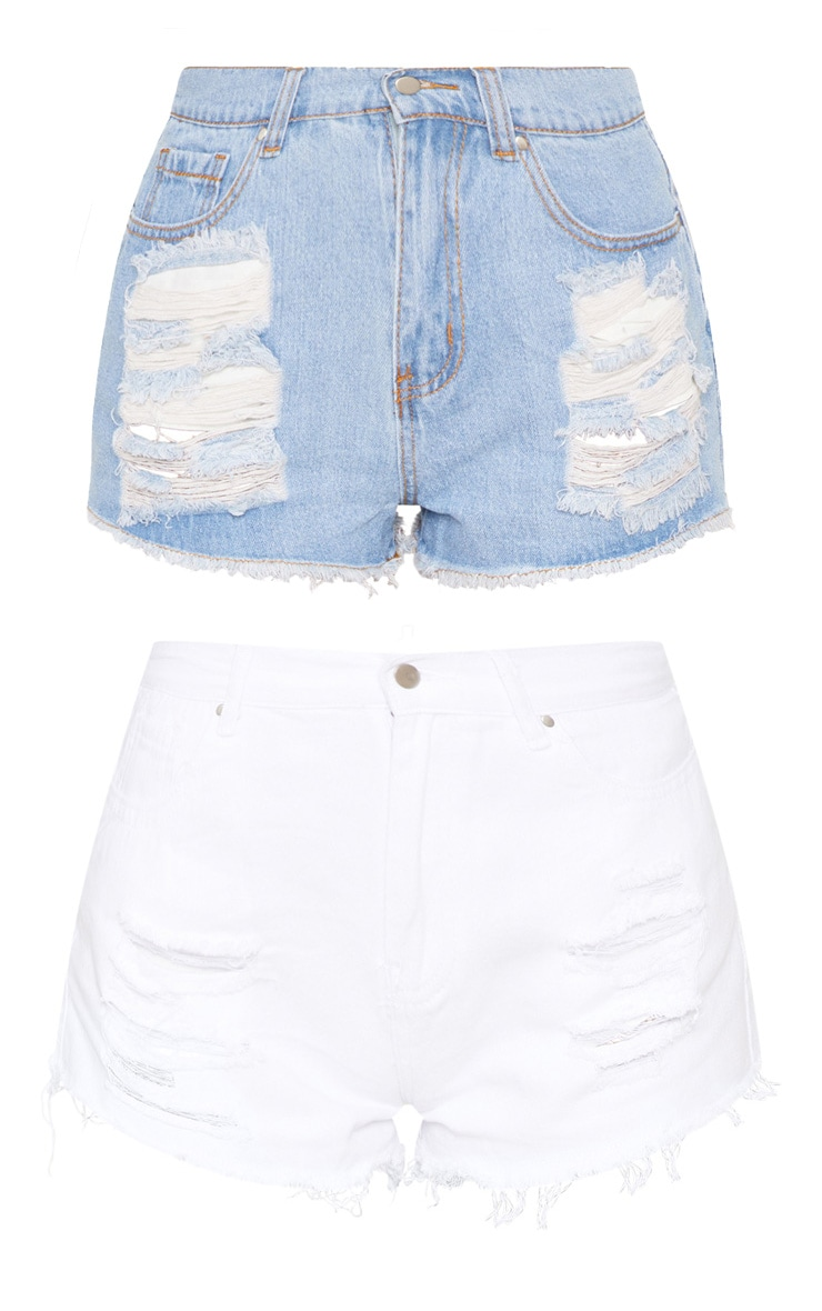 Light Wash/White 2 Pack Elana Hot Pants  3