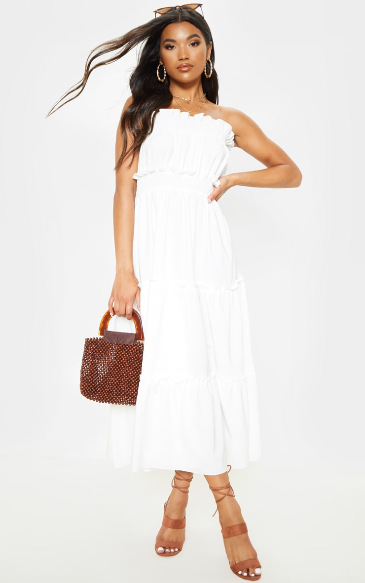 White Shirred Frill Tiered Bandeau Maxi Dress 4