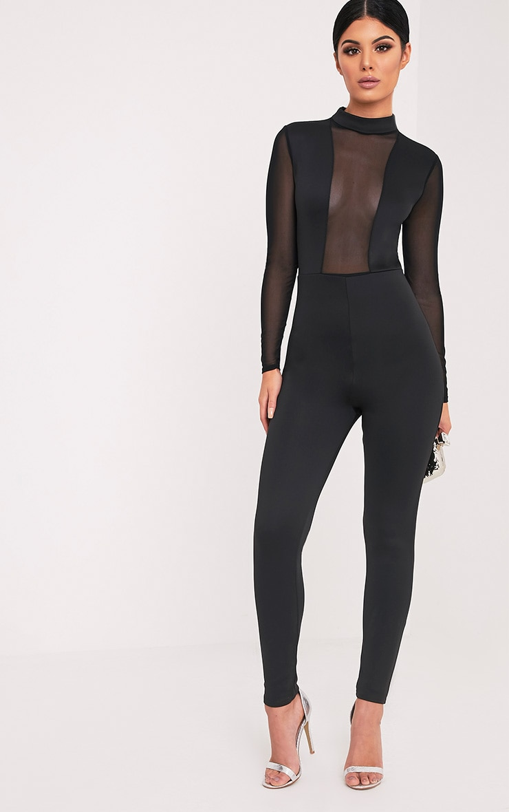 Whitney Black Mesh Scuba Jumpsuit  1