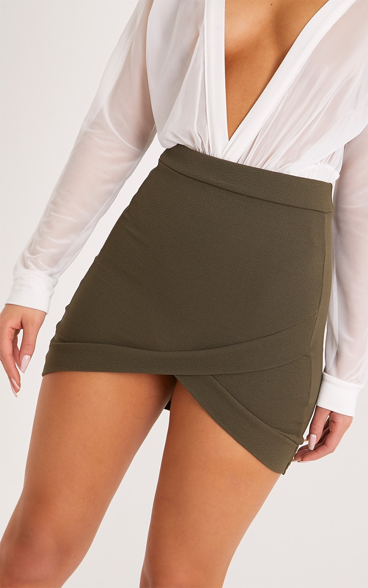 Gabriella Khaki Asymmetric Mini Skirt 5