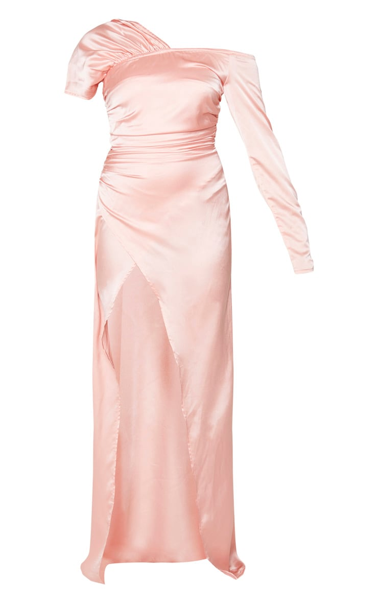Peach Satin Bardot Maxi Dress 5