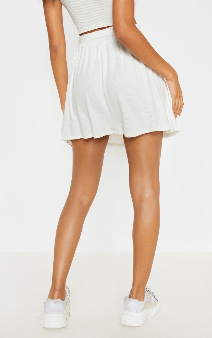 Jupe patineuse crème en maille côtelée brossée et lien à la taille 4