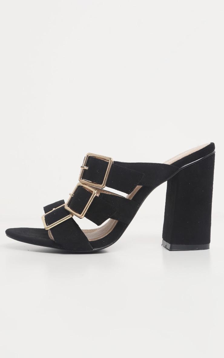 Black Triple Strap Buckle Mule Sandal 4