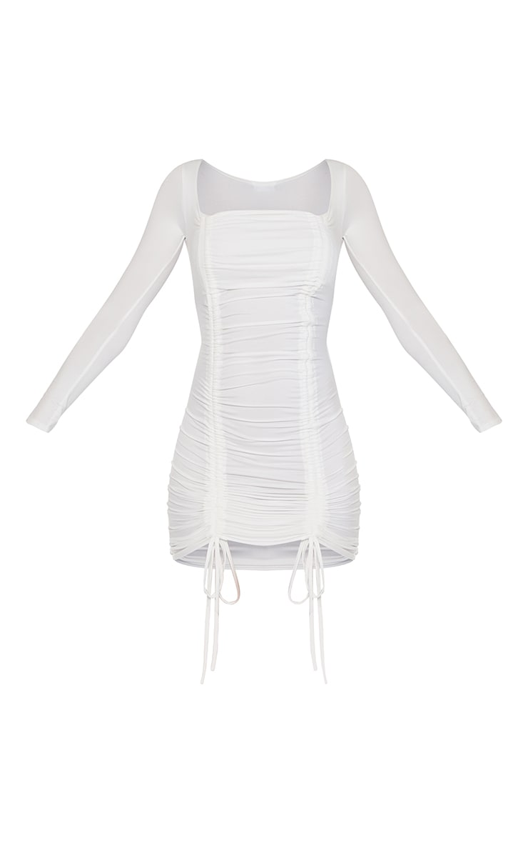 Cream Soft Jersey Double Ruched Square Neck Bodycon Dress 5